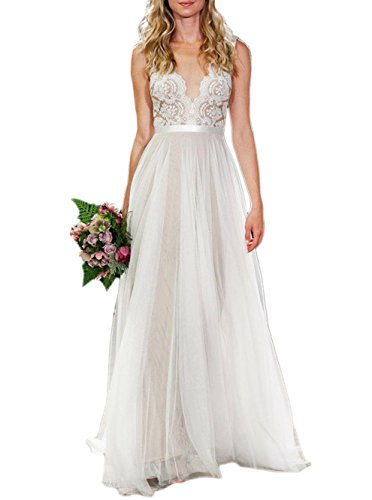 Ikerenwedding Women's V-Neck A-line Lace Tulle Long Beach Wedding Dresses for Bride Ivory US6