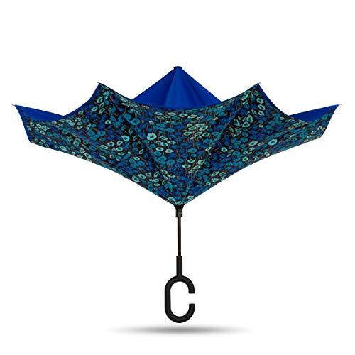 ShedRain Unbelievabrella Inverted, Upside Down, Windproof & Rainproof Car Umbrella - Hands Free C-Shape Handle - Heavy Duty, Double Layer Reverse Canopy Protects Men & Women Outdoors from Wind & Rain
