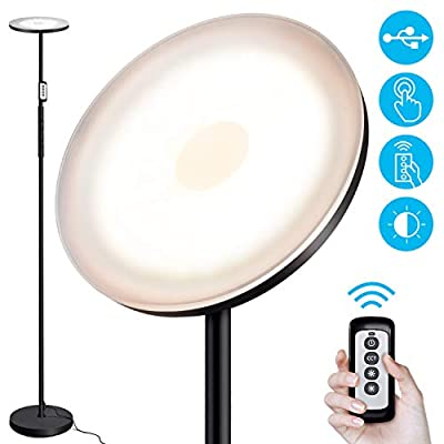 OUTON Floor Lamp Modern, LED Torchiere Lamp 30W 2400LM, Tall Standing Lamp with 3 Color Temperatures & Stepless Dimmer & Remote & Touch Control & USB Charging Port for Living Room Bedroom Office