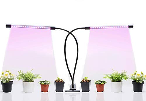 LED Grow Light AUTO ON & Off Timing Function 20w Red Blue 2:1 Ledy Plant Grow Lamp Bulbs 360 Degree Adjustable Gooseneck for Indoor Plants 8 Dimmable Levels