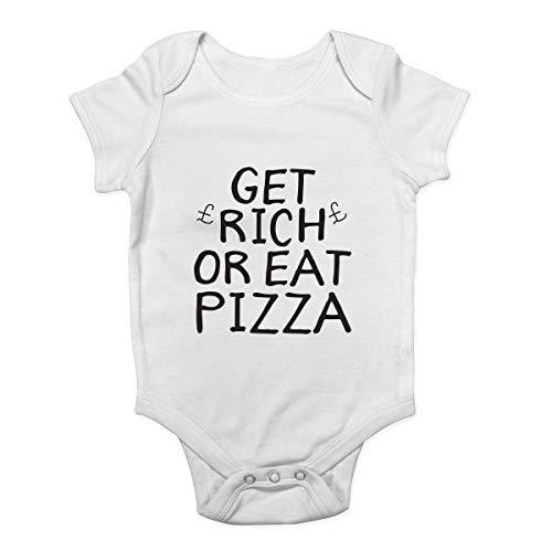 Promini Body pour bébé Get Rich Eat Pizza - Blanc - 2 mois