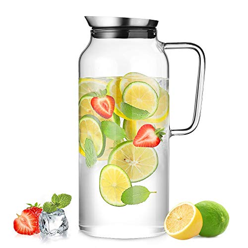ecooe Glaskaraffe 2000ml (Volle Kapazitat) Glaskrug aus Borosilikatglas Wasserkrug mit Edelstahl Deckel Karaffe Glaskanne