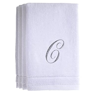 Monogrammed Towels Fingertip, Personalized Gift, 11 x 18 Inches - Set of 4- Silver Embroidered Towel - Extra Absorbent 100% Cotton- Soft Velour Finish - For Bathroom/ Kitchen/ Spa- Initial C (White)