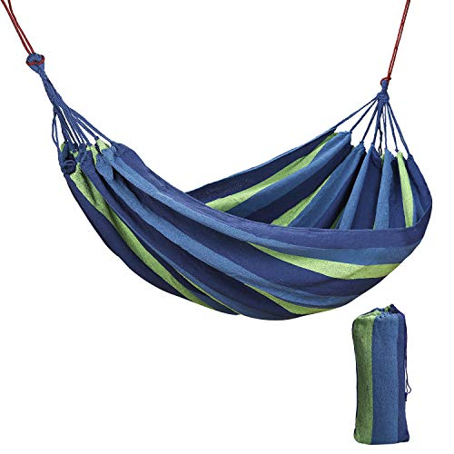 Hängematte Outdoor Baumwolle Mehrpersonen 240 x 150 cm, Belastbarkeit bis 200kg Tragbare mit Tragetasche, Doulbe Kinder Swing Bed in Garten, Strand, Terrasse, Veranda, oder Hinterhof Lounging