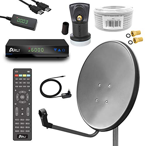 Digital Sat Anlage 60 cm Spiegel inkl. ARLI AH1 HD Receiver + Single LNB + 10m Koax Kabel + 2 F - Stecker vergoldet 1 Teilnehmer Set dunkelgrau anthrazit Camping Antenne 1 Teilnehmer