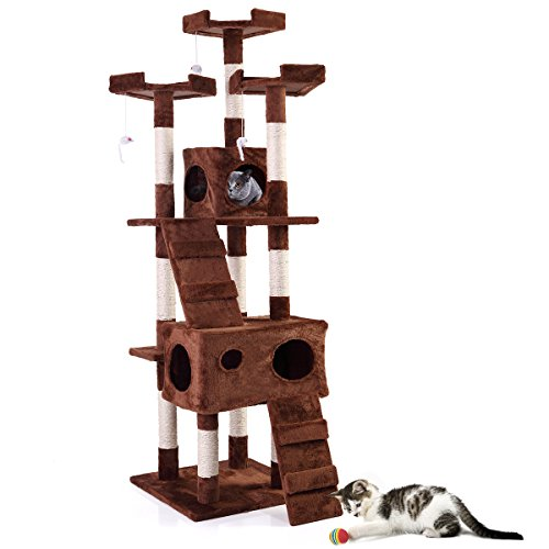 COZIWOW Sturdy Cat Tree Tower Condo - Furniture for Multiple Cats with Soft Flannel Covered Ramp...