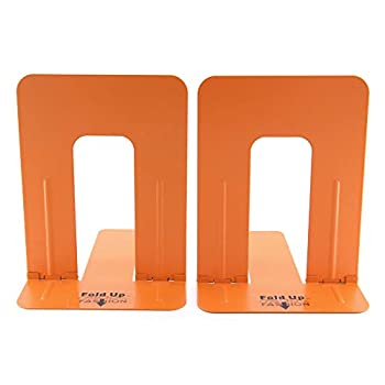 Heavy Orange Thicken Large Tall Steel Bookends Germany Folded Design Easy for Organization Files Bright Light Colorful Home Decoration Book Shelves Holders 1 Pair Orange Color Book Ends Office