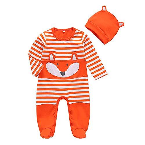 Jimmackey Neonato 3D Volpe Applique Piedini Tutine Body Manica Lunga Strisce Pagliaccetto + Cappello Bebè Vestiti