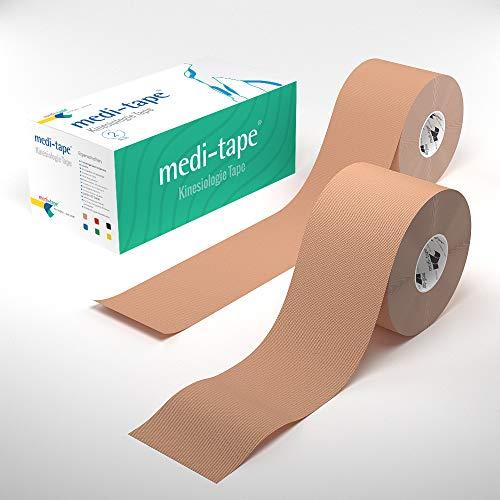 2x Beige Medi-Tape, Kinesiologie Tape (5 cm x 4,50 m), in 6 Farben, 100% Baumwolle, fuer Sport und Alltag,Physiotape (Beige/Beige)