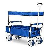 Waldbeck The Blue Supreme Chariot Pliable pour Bricolage Plage Pique-Nique (Roues Larges 10cm, bâche de Protection, Sac Isotherme, transporte jusqu'à 68kg) - Bleu
