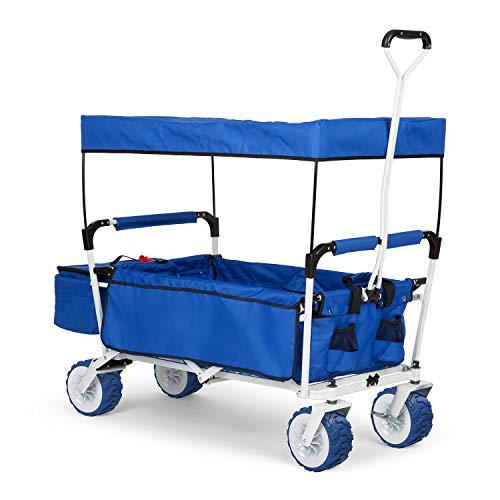 Waldbeck The Blue Supreme - Bollerwagen, Handwagen, kippsicher, witterungsbeständig, Falttechnik, 68 kg Belastbarkeit, Kühltasche, Dachplane, 8 Seitentaschen, PU-Kunststoffräder, blau