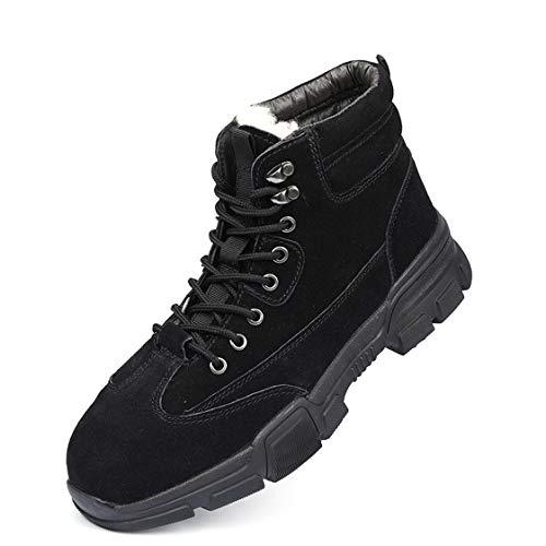 LANMOU Botas de Seguridad Hombre Invierno con Puntera de Acero Impermeables Botas de Nieve Zapatos de Trabajo Entrenador Unisex Calzado de Seguridad,Negro,44 EU