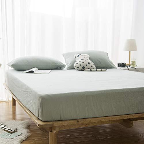 Haiba - Sábana bajera para cama Super King (120 x 200 + 25 cm), color verde