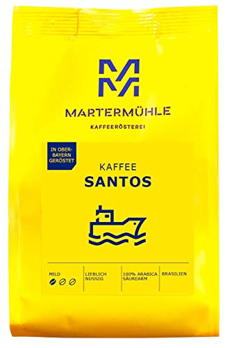 Martermühle I Kaffee Santos I Kaffee ganze Bohnen I Premium Kaffeebohnen aus Brasilien I Schonend geröstete Kaffeebohnen I Kaffeebohnen säurearm I 100% Arabica Kaffeebohnen I 1kg