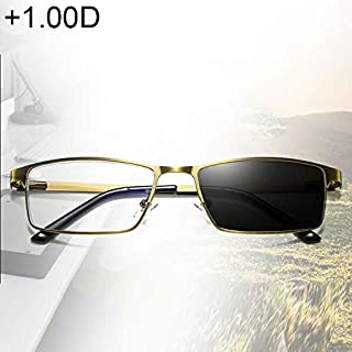 WTYD Clothing and Outdoor Accessories Dual-Purpose Photochromic Presbyopic Glasses, 1.00D(Gold) Outdoor Equipment (Color : Gold)