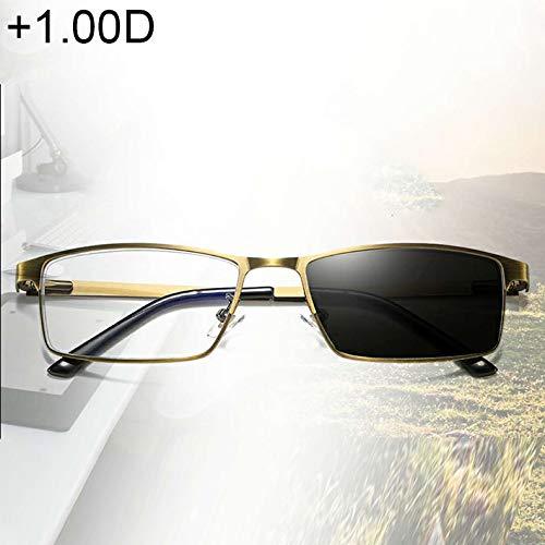 JSANSUI Goedkope leesbril Dual Purpose Photochromic Presbyopie bril, (+ 1.00D / Goud)