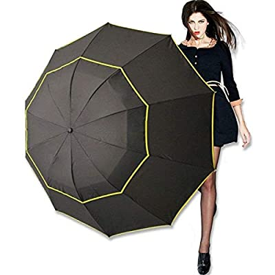 Kalolary 63 Inch Extra Oversize Large Compact Golf Umbrella?Double Canopy Vented Windproof Waterproof Stick Umbrellas for women & men
