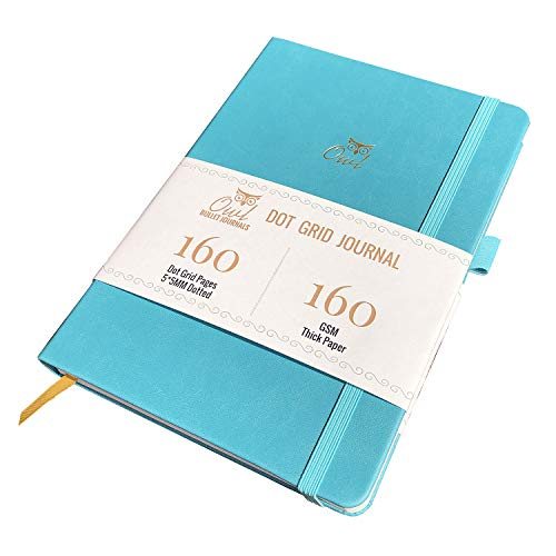 BUKE Hardcover Dotted Notebook Dot Gird journal 160 Pages, Size 5.7X8.2 Inch, 160 GSM Ultra Thick Bamboo Paper, 5 X 5mm Dots