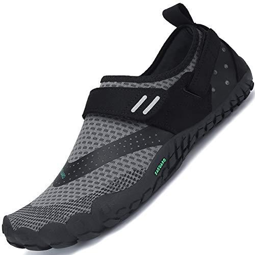 SAGUARO Barfussschuhe Herren Damen Outdoor Traillaufschuhe Barfuß Zehenschuhe Fitness Straßenlaufschuhe mit Klettverschluss Grau A 41