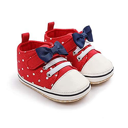 Geagodelia Babyschuhe für Neugeborene, Unisex, rutschfeste Schuhe mit weicher Sohle, Mädchen, mit Schleife, erste Schritte, 0-12 Monate., Rot - rot - Größe: 9-12 mesi