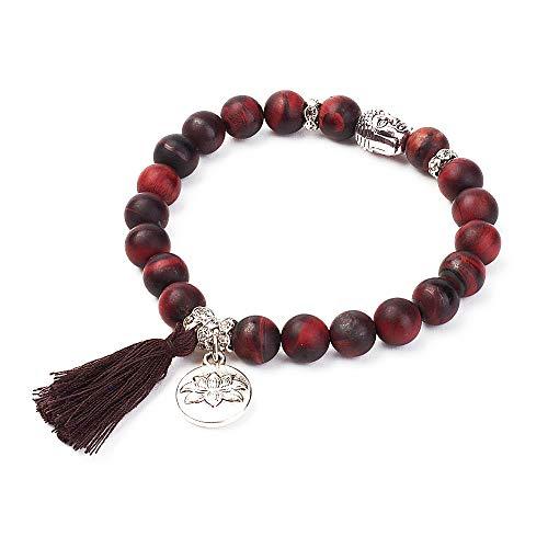 Bracelet Perle Bouddhiste - Un Bracelets en Perles Naturelle avec amulette tête de Bouddha et Charme Fleur de Lotus Pierre de Protection Chakras - Marron