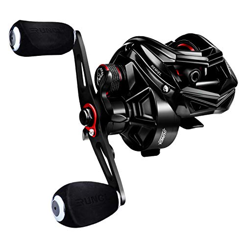 RUNCL Baitcasting Fishing Reel REMIEL, Baitcaster - Seamless Magnetic Brake System, 7.5:1 Gear Ratio, 10+1 Stainless Steel Ball Bearings, Sealed Drag, Lengthen Handle - Bass Fishing Reel (Right)