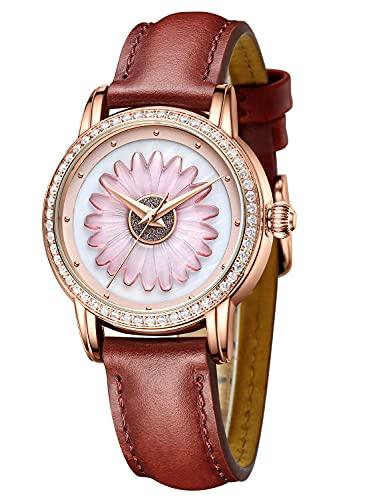 Reloj de pulsera para mujer con correa de cuero para mujer, resistente al agua, elegante, de lujo, analógico, de cuarzo, casual, minimalista, ligero, vestido sencillo clásico