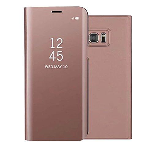 Shinyzone Spiegel Hülle für Samsung Galaxy S6, Stilvoll Roségold Klar Spiegel Leder Handyhülle [Galvanotechnik] Faltbare Standfunktion,Hart Bumper Stoßfeste Schutzhülle