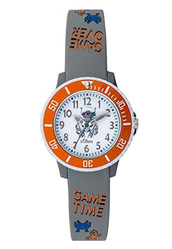 s.Oliver Unisex Kinder Analog Quarz Uhr mit Silikon Armband SO-3727-PQ