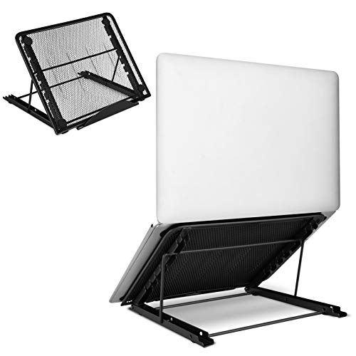Aigital Portable Adjustable Laptop Stand, Foldable Ventilated Laptop Holder, Ergonomic Cooling Stand, Universal Lightweight Tablet Notebook Support Fit for (10'-15') Computer, PC, IPad, MacBook, Black