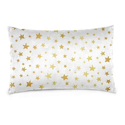 Lesif Fundas de cojín de terciopelo rectangulares fundas de almohada suaves decorativas para sofá, dormitorio, coche, 40,6 x 60,9 cm (fondo sin costuras, estrellas doradas), color blanco