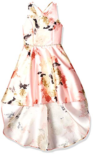Speechless Big Girls 7-16 High-Low Pleated Party Dress, Pink Coral Floral, 14