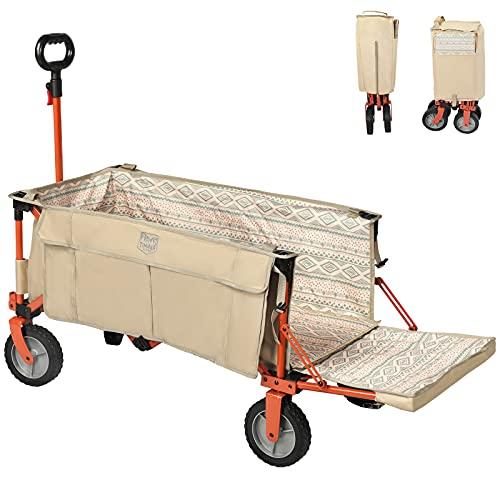 TIMBER RIDGE アウトドアワゴン 折り畳み 長物対応 ワンタッチ収束式 耐荷重100kg 自立収納 大容量 収納ポケットつき キャリーワゴン アウトドアキャリー キャンプワゴン