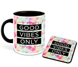 Whats Your Kick - Good Vibes Only Inspired Designer Printed Black Ceramic Coffee