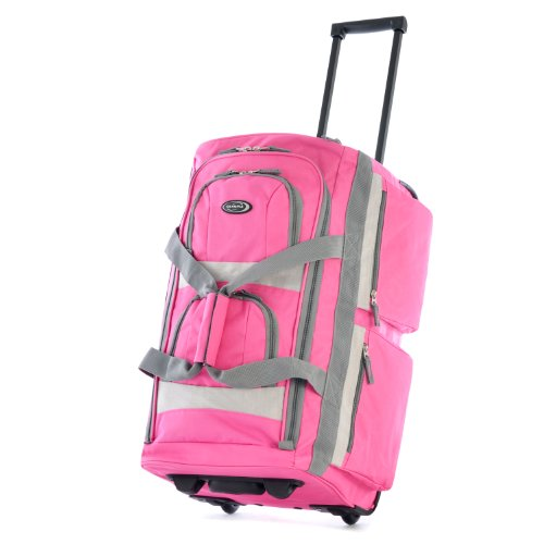 Olympia 8 Pocket Rolling Duffel Bag, Hot Pink, 26 inch