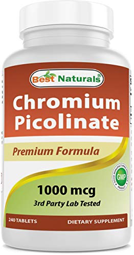Best Naturals Chromium Picolinate 1000 mcg Tablet - Supports Healthy Blood Sugar Levels, 240 Count