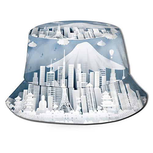 RUEMAT Sombrero Pescador Unisex,Postal Panorama Monumentos Famosos del Mundo Tokio,Plegable Sombrero de Pesca Aire Libre Sombrero Bucket Hat para Excursionismo Cámping De Viaje Pescar