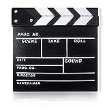 Clapper Board Odowalker Black Clapperboard Clap-Stick Dry Erase Cut Action Scene for Hollywood Camera Film Studio Home Movie Video 7.87x7.87 inch