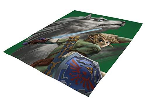 Familando große kuschelige Flauschdecke Fleecedecke Zelda · 160 x 200 cm · Wolf-Link · XXL Tagesdecke Kuscheldecke · The Legend of Zelda