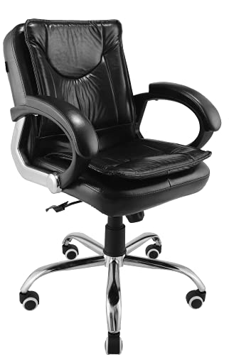 Oakcraft Medium Back Office Chair/Executive Office Chair/Desk Chair/Computer Chair with Ergonomic Support Tilting Function Upholstered in Leather (Black)