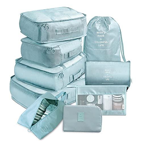 Aihome, set da 9 cubi da viaggio, per scarpe, biancheria intima, cosmetici, articoli da toeletta, vestiti sporchi, leggeri da trasporto