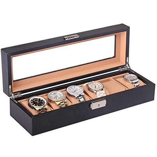 Estuche de reloj Handmade 6 Grid Watch Organizador Caja con pantalla de tapa de vidrio superior en cuero sintético negro Todos los hombres y mujeres son buenos Regalo de los hombres de Acción de Graci