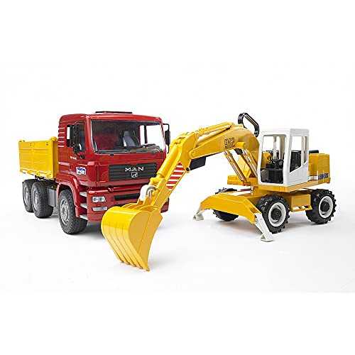 BRUDER - 02751 - Camion benne MAN TGA rouge avec pelleteuse LIEBHERR jaune