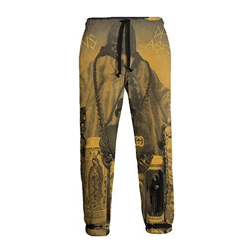 LAOLUCKY Herren Sweatpants Jogger Jersey Pants Sporthose Gr. 31-35, Dj Muggs Soul Assassins Dia Del Asesinato weiß