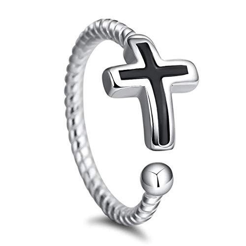 24 JOYAS Anillo Ajustable Cruz Cristiana en Plata de Ley - Regalo romántico religioso para Mujer