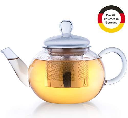 Creano Glas-Teekanne 800ml 3-teiliger Teebereiter mit integriertem Edelstahl-Sieb und Glas-Deckel, ideal zur Zubereitung von losen Tees, tropffrei, All-in-one