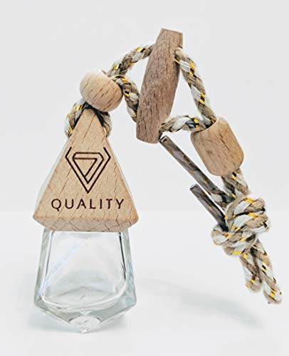 V-Quality Empty 7ml Refillable Car Aromatherapy Essential Oil Diffuser Freshener Decor Accessories - Clear Glass Bottle With Wooden Caps - Vent Clip - And Hanging String (Smart 2-In-1 Design)