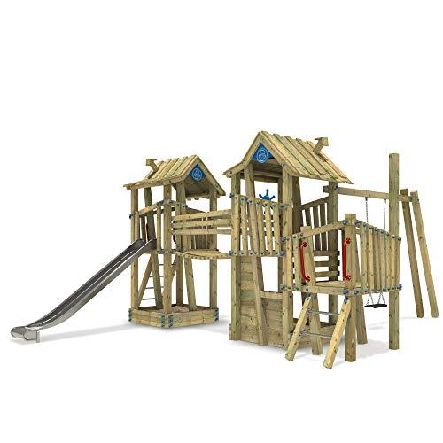 WICKEY Spielturm Klettergerüst PRO GIANT Fortress G-Force öffentliches Spielplatz Spielgerät mit Edelstahl Rutsche