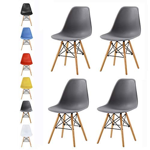 MCC direct Set of 4 Modern Design Dining Chairs Eiffel Retro Lounge Chairs, LIA by MCC (Grey)