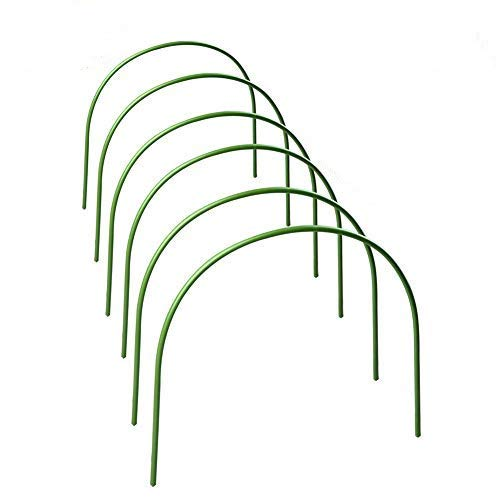 PovKeever 6Pcs Greenhouse Hoop, Rust-Free Grow Tunnel Support Frame, Plastic Coated Plant Hoops, Plastic Coated Support Garden Hoops for Greenhouse